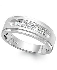 Men's Five-Stone Diamond Ring in 10k White Gold (1/4 ct. t.w.)