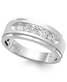 Men's Five-Stone Diamond Ring in 10k White Gold (1/4 ct. t.w.)