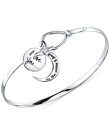 "Unwritten ""I Love You to the Moon and Back"" Bangle Bracelet in Sterling Silver"