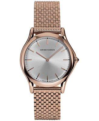 Emporio Armani Unisex Swiss Rose Gold Ion-Plated Stainless Steel Bracelet Watch 36mm ARS2013