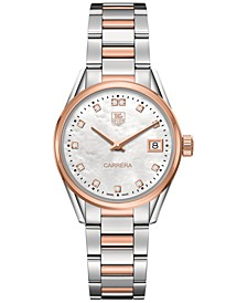 Women's Swiss Carrera Diamond (1/10 ct. t.w.) Two-Tone Stainless Steel Bracelet Watch 32mm WAR1352.BD0774