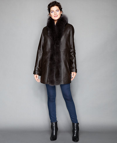 The Fur Vault Fox-Fur-Trimmed & Rabbit-Fur-Lined Leather Coat ...