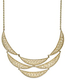 Diamond-Cut Crescent Frontal Bib Necklace in 14k Gold