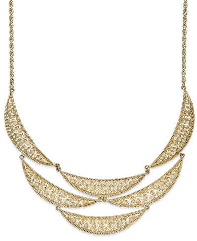 Diamond-Cut Crescent Frontal Bib Necklace in 14k Gold