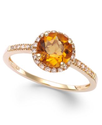Citrine (1-1/5 ct. t.w) and Diamond (1/8 ct. t.w.) Round Ring in 14k Gold
