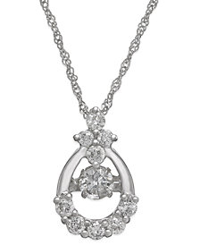 Twinkling Diamond Star™ Diamond Open Teardrop Pendant Necklace in 14k White Gold (3/8 ct. t.w.)