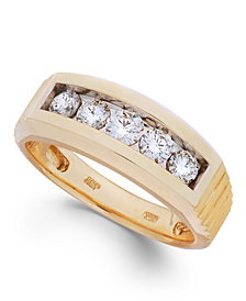 Men's Diamond Five-Stone Ring in 10k Gold (1 ct. t.w.)