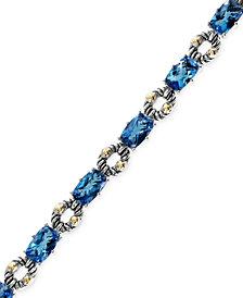 Balissima by EFFY Blue Topaz Bracelet in Sterling Silver and 18k Gold (21-1/3 ct. t.w.)