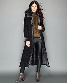 The Fur Vault Hooded Shearling Maxi Coat