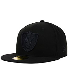 Oakland Raiders NFL Black on Black 59FIFTY Fitted Cap