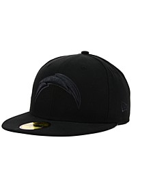San Diego Chargers NFL Black on Black 59FIFTY Fitted Cap