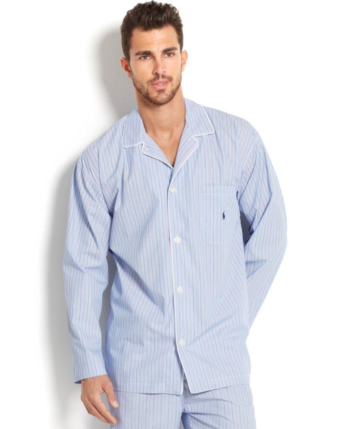 Polo Ralph Lauren Big and Tall Blue Andrew Stripe Men's Pajama Top & Reviews - Pajamas & Robes - Men - Macy's