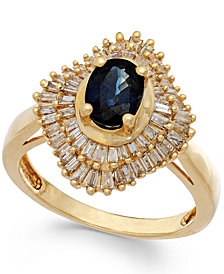 Sapphire (9/10 ct. t.w.) and Diamond (1/2 ct. t.w.) Ring in 14k Gold