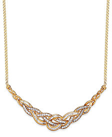 Wrapped in Love™ Diamond Woven Frontal Necklace in 10k Gold (1 ct. t.w.), Created for Macy's