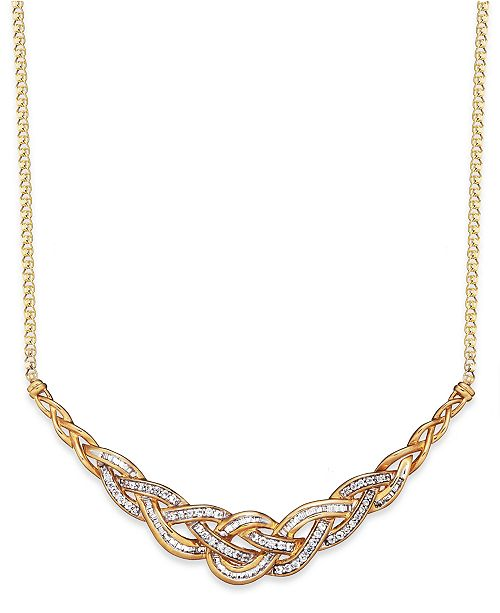 Wrapped in Love Diamond Woven Frontal Necklace in 10k Gold (1 ct. t.w.), Created for Macy's