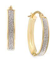 Glitter Oval Hoop Earrings in 14k Gold