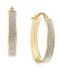 Glitter Oval Hoop Earrings in 14k Gold