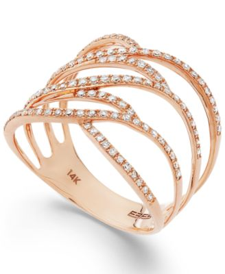 Pav Rose by EFFY Diamond Ring in 14k Rose Gold 38 ct tw