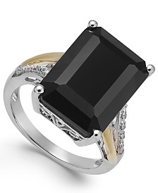 Onyx (10-1/2 ct. t.w.) and Diamond Accent Ring in Sterling Silver and 14k Gold