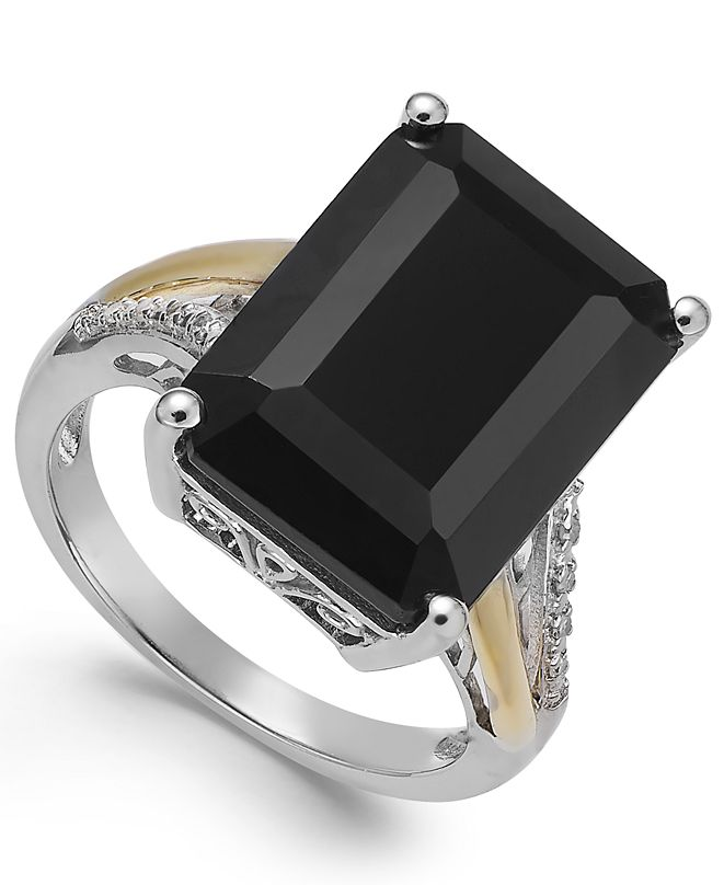 Macy's Onyx (10-1/2 ct. t.w.) and Diamond Accent Ring in Sterling Silver and 14k Gold
