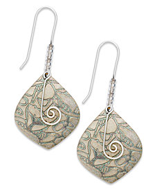 Jody Coyote Etched Patina and Swirl Wire Drop Earrings
