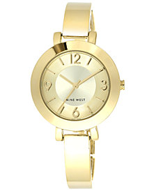 Nine West Women's Gold-Tone Bangle Bracelet Watch 34mm NW/1630CHGB