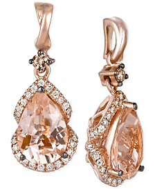 Le Vian Peach Morganite (2-3/8 ct. t.w.) and Diamond (1/3 ct. t.w.) Drop Earrings in 14k Rose Gold, Created for Macy's