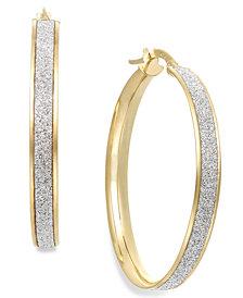 Italian Gold Glitter Hoop Earrings in 14k Gold (30mm)