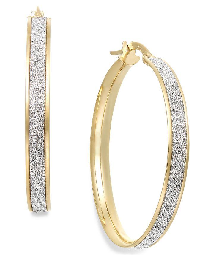 Italian Gold - Glitter Hoop Earrings in 14k Gold (30mm)