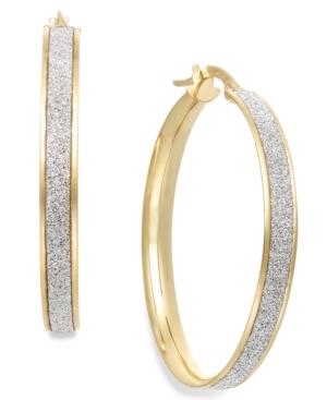 Glitter Hoop Earrings in 14k Gold (30mm)