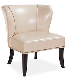 Janie Faux Leather Accent Chair, Quick Ship