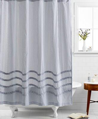 closeout! martha stewart collection ruffle shower curtain - shower