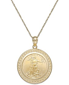 Genuine Eagle Coin Pendant Necklace in 22k and 14k Gold
