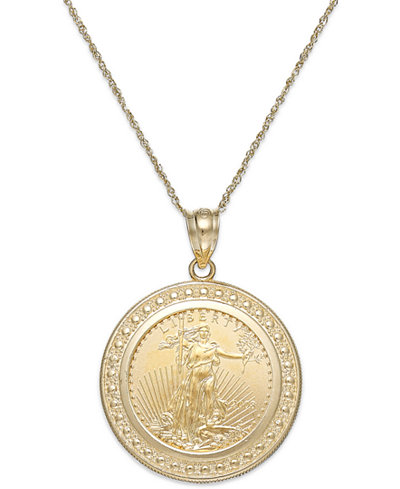 Genuine eagle coin pendant necklace in 22k and 14k gold genuine eagle coin pendant necklace in 22k and 14k gold mozeypictures Images