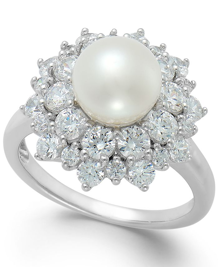 Arabella - Cultured Freshwater Pearl (8mm) and Swarovski Zirconia Ring in Sterling Silver