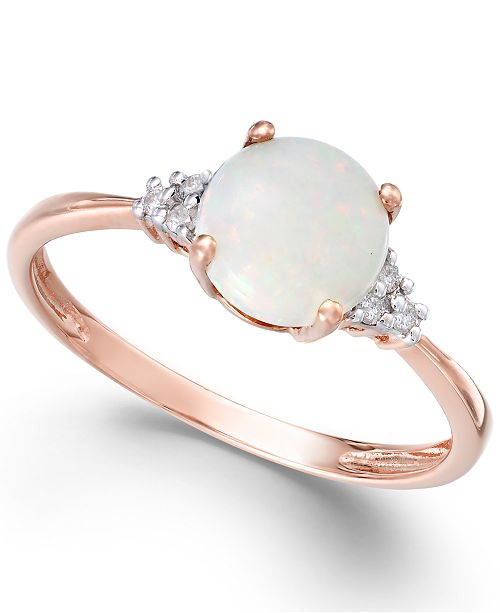 Macy's Opal (3/4 ct. t.w.) and Diamond Accent Ring in 14k Rose Gold