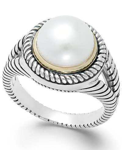 Cultured Freshwater Pearl Rope Ring in Sterling Silver and 14k Gold (10mm)