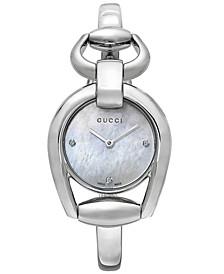 Women's Swiss Horsebit Diamond Accent Stainless Steel Bangle Bracelet Watch 28mm YA139506