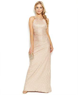 Xscape Embellished Metallic Halter Gown - Dresses - Women - Macy\'s