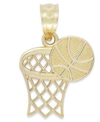 14K Yellow Gold Basketball in The Net Charm Pendant