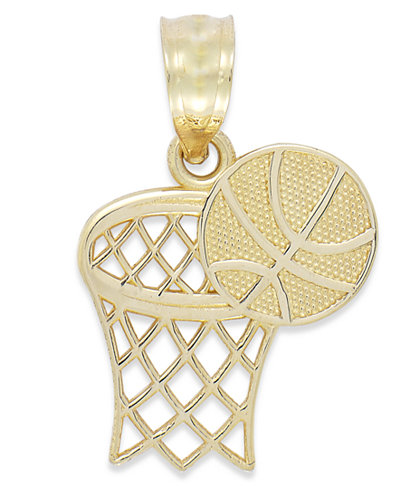 Basketball and Hoop Charm in 14k Gold