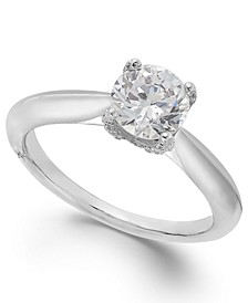 Classic by Certified Diamond Solitaire Engagement Ring in 18k White Gold (1 ct. t.w.), Created for Macy's