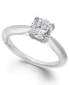 Classic by Marchesa Certified Diamond Solitaire Engagement Ring in 18k White Gold (1 ct. t.w.), Created for Macy's