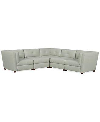 Tristen Leather 5 Piece Modular Sectional Sofa Furniture