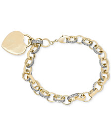 Diamond Accent Heart Tag Chain Bracelet in 18K Yellow and Rose Gold over Sterling Silver-Plated Brass
