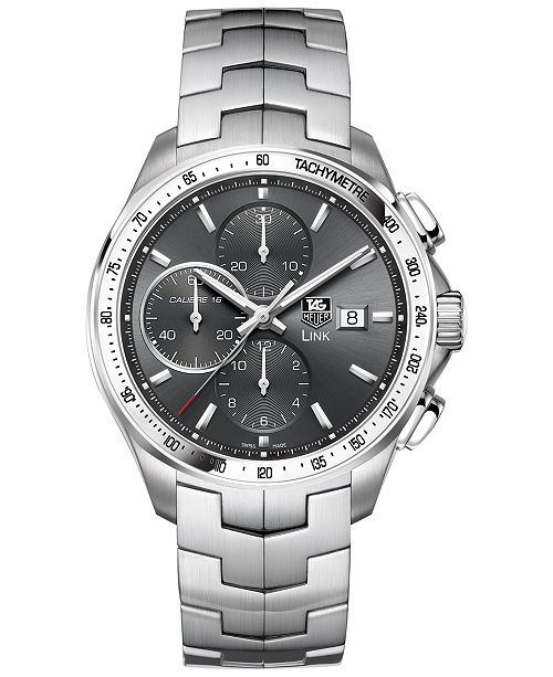 TAG Heuer Men's Swiss Automatic Chronograph Link Stainless Steel Bracelet Watch 43mm CAT2017.BA0952