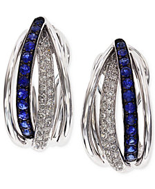 Royale Bleu by EFFY Sapphire (3/8 ct. t.w.) and Diamond (1/4 ct. t.w.) Hoop Earrings in 14k White Gold, Created for Macy's