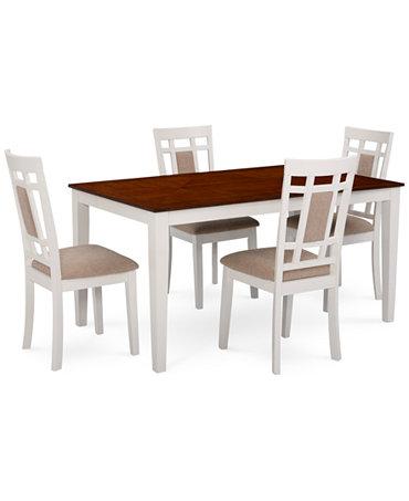 Delran White 5 Piece Set Dining Room Furniture Set Furniture Macy 39 S