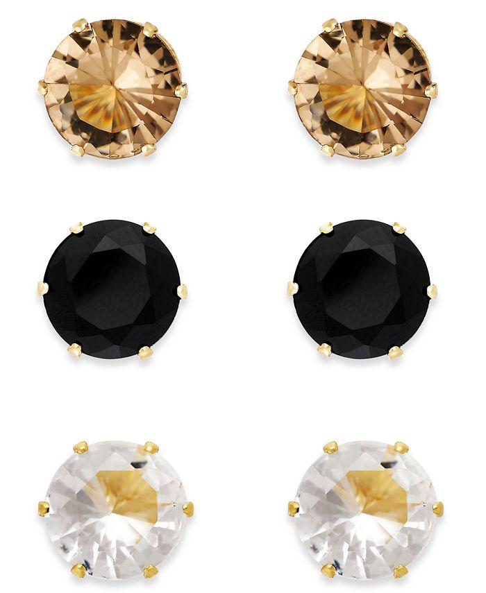 Thalia Sodi - Silver-Tone Clear, Black and Brown Crystal Earring Trio