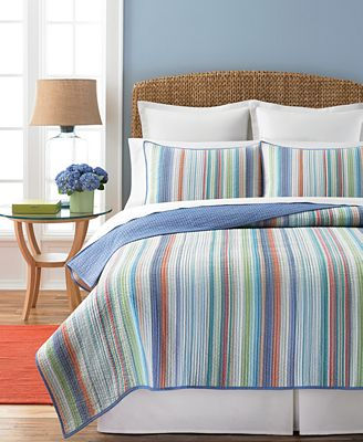 CLOSEOUT! Martha Stewart Collection Chatham Stripe Quilts - Quilts ... : blue striped quilt - Adamdwight.com